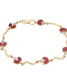 Золотой браслет с рубинами